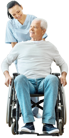 caregiver assisting senior man on the wheelchair